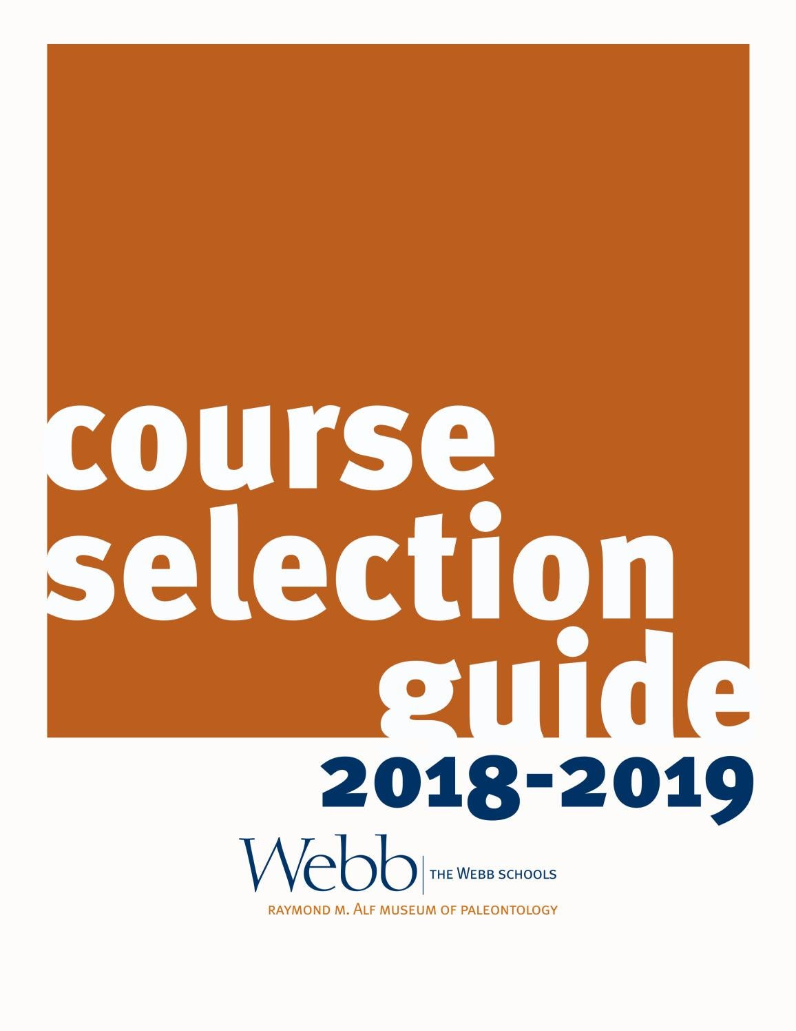The Webb Schools Course Selection Guide 2018-2019 by The