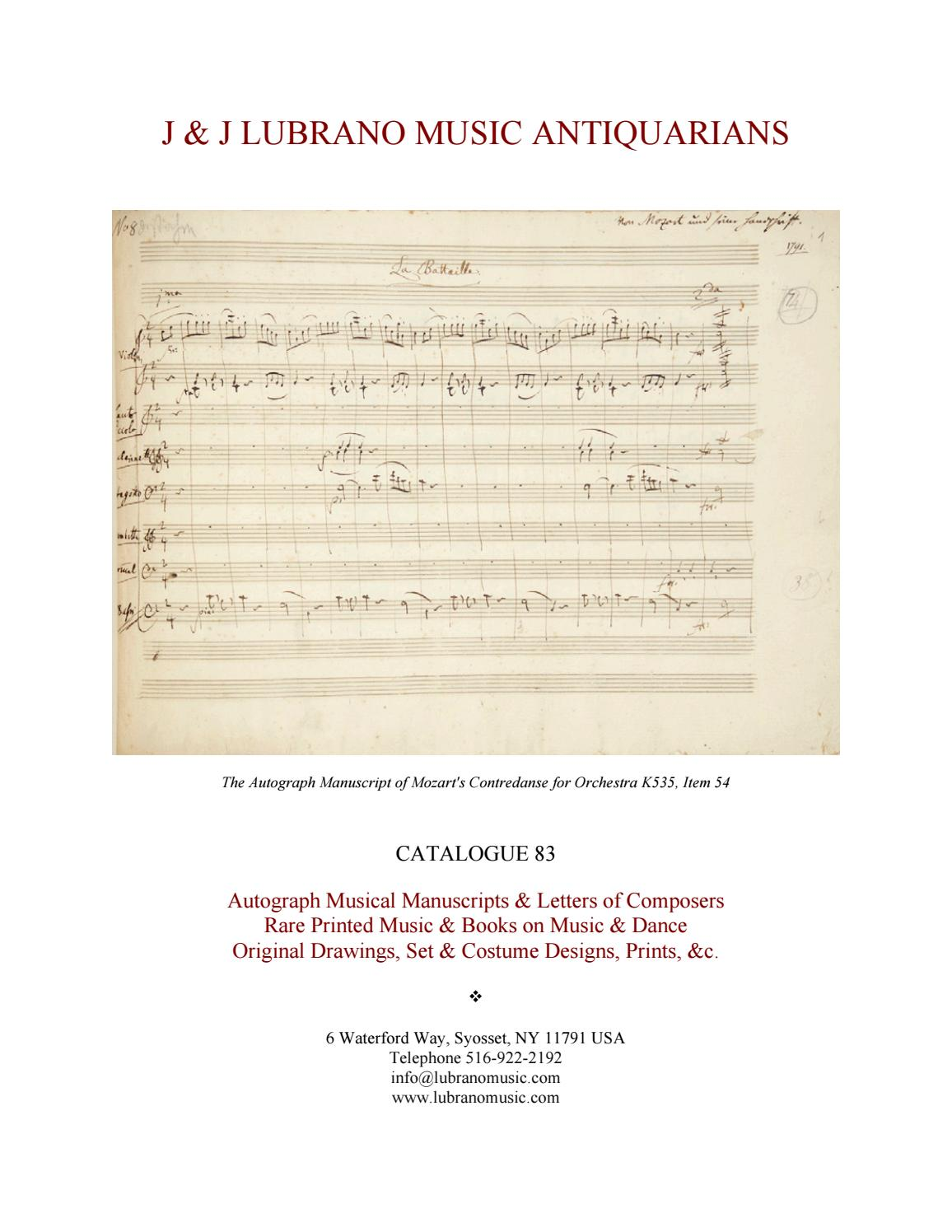 Catalogue 83 by J & J Lubrano Music Antiquarians - issuu