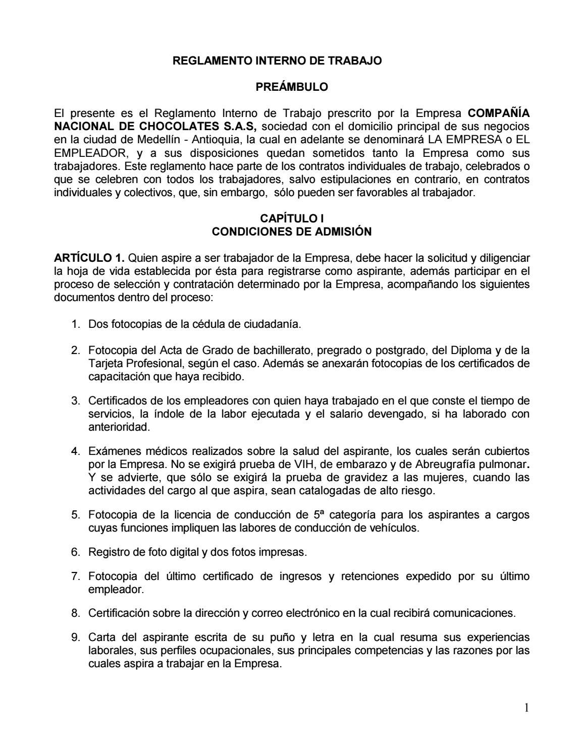 Reglamento interno by comunicacioneschocolates - issuu