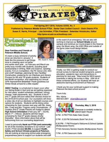Peterson 2017-2018 newsletter #3 March 2018 by Peterson Secretary