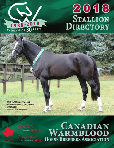 2018 CWHBA Stallion Directory by Canadian Warmblood Horse Breeders