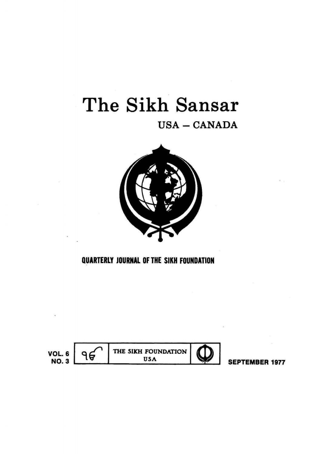 The Sikh Sansar USA-Canada Vol  6 No  3 September 1977 by