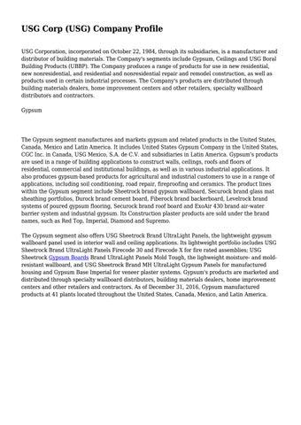 USG Corp (USG) Company Profile    by 2tshirts - issuu