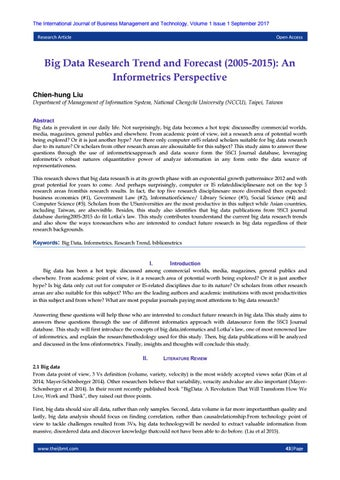 Big Data Research Trend and Forecast (2005-2015): An Informetrics