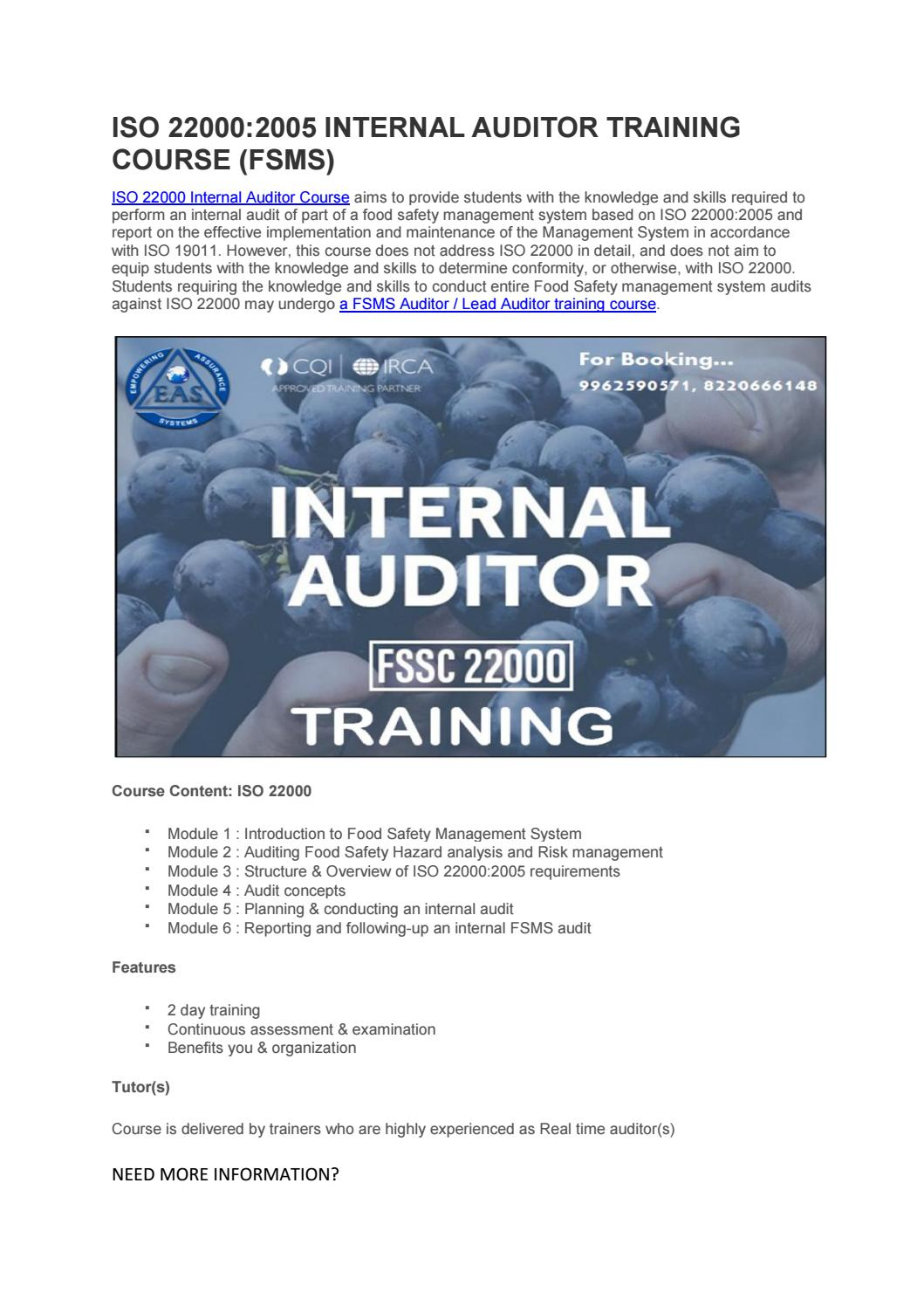 ISO 22000 Internal Auditor Food Safety Management Training