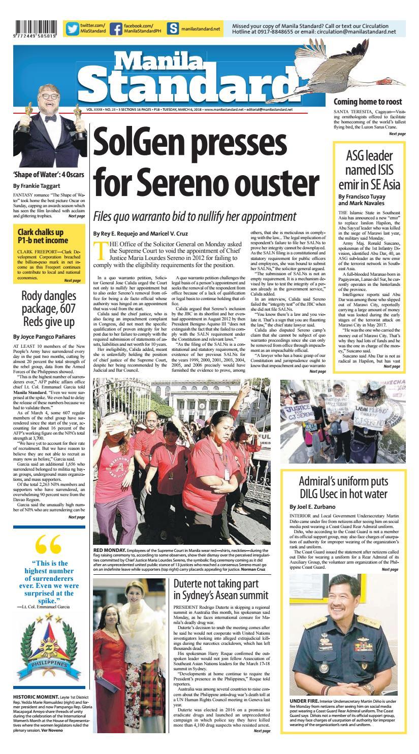 Manila Standard - 2018 March 06 - Tuesday by Manila Standard - issuu