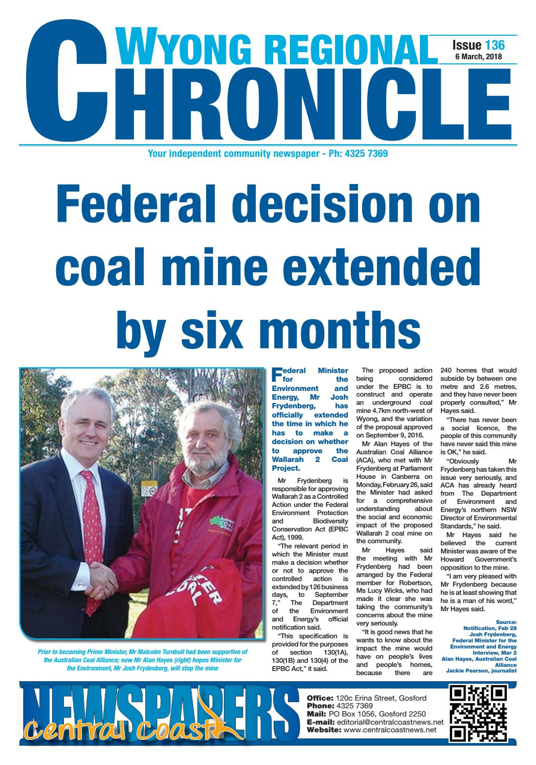 Issue 136 of Wyong Regional Chronicle by Central Coast