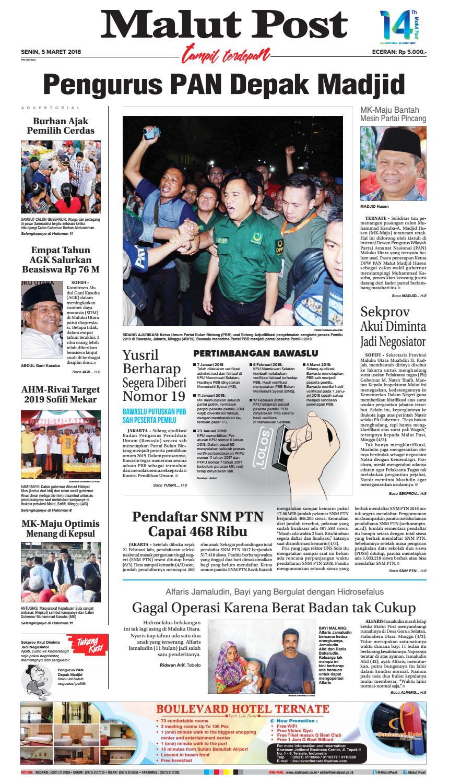 Malut Post 5 Maret 2018 By Issuu Produk Umkm Bumn Lapis Surabaya Panjang Hj Enong