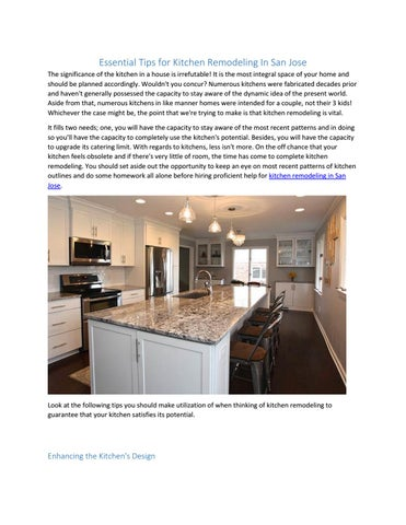 Essential Tips For Kitchen Remodeling In San Jose The Significance Of The  Kitchen In A House Is Irrefutable! It Is The Most Integral Space Of Your  Home And ...