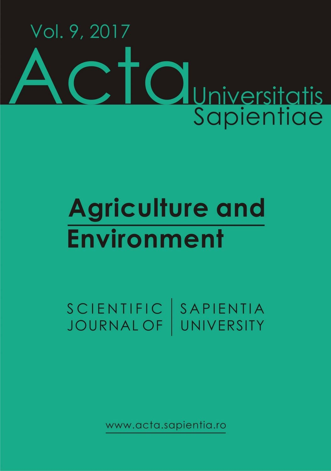 Agriculture and Environment Vol  9, 2017 by Acta