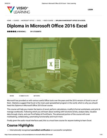 diploma in microsoft office 2016 excel visio learning by