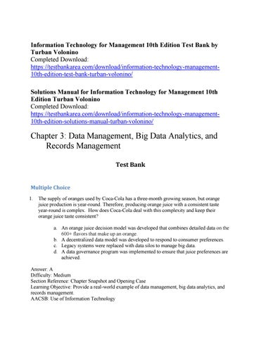 Information technology for management 10th edition test bank by information technology for management 10th edition test bank by turban volonino completed download fandeluxe Gallery