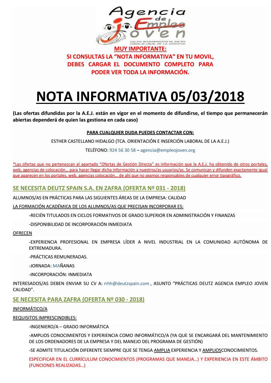 Nota informativa 05/03/18 by Segura De León - issuu