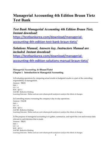 managerial accounting 4th edition test bank braun tietz by tietz issuu rh issuu com Accounting and Finance Managerial Accounting Example Problems