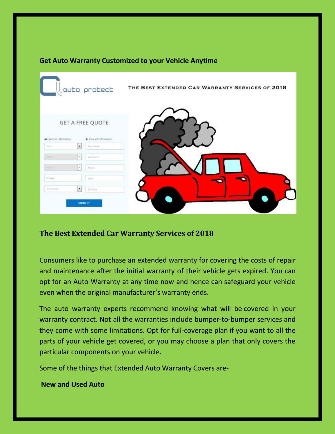 Best Extended Auto Warranty >> Get Auto Warranty Customized To Your Vehicle Anytime By