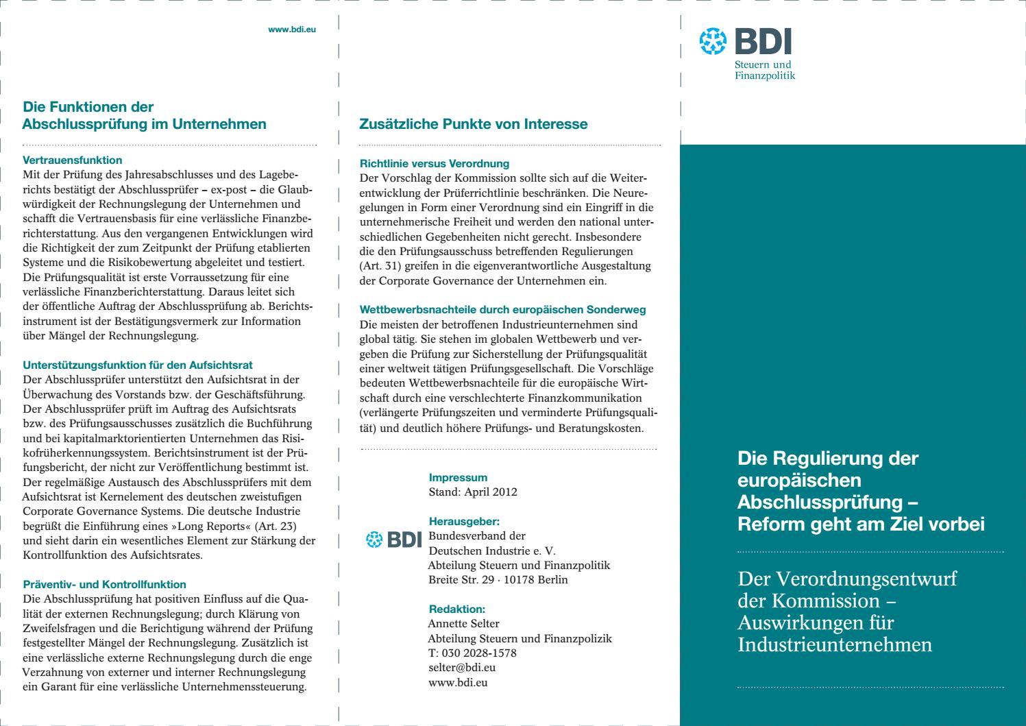 Die Regulierung Der Europäischen Abschlussprüfung By Bundesverband