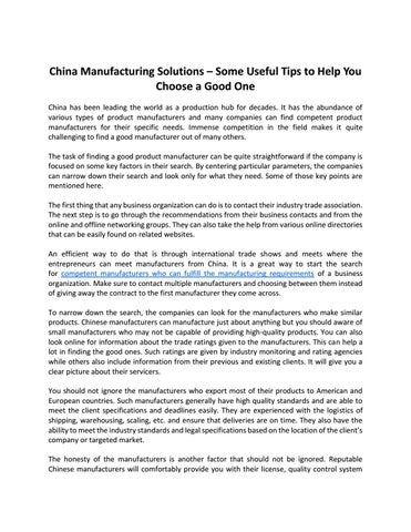China manufacturing solutions – some useful tips to help you