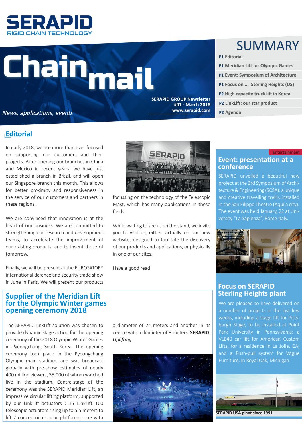 SERAPID Newsletter |Chain Mail #1 | Specialist in the