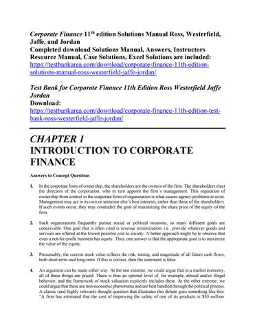 corporate finance 11th edition solutions manual by ross westerfield rh issuu com corporate finance solutions manual 10th edition corporate finance solutions manual 10th edition pdf