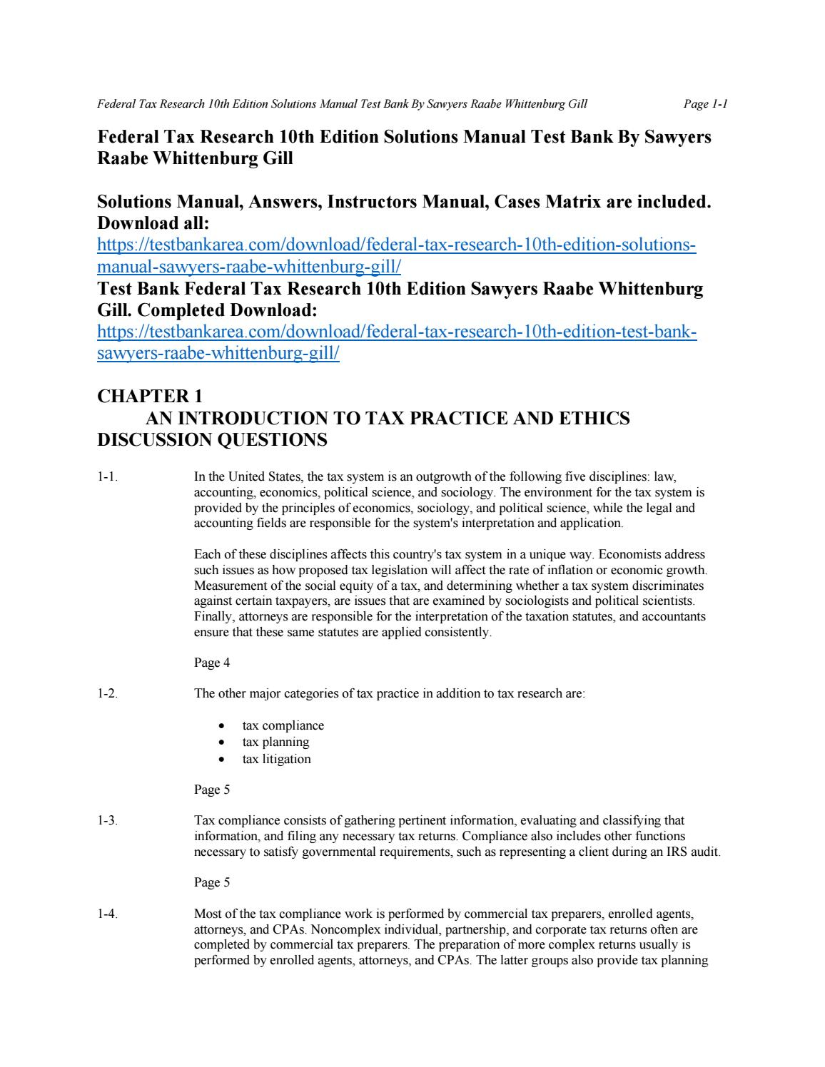 Federal tax research 10th edition solutions manual sawyers raabe  whittenburg gill by Westerfield - issuu