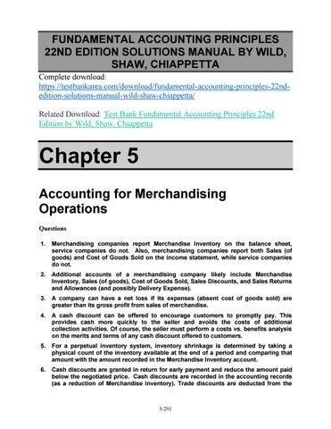 Fundamental Accounting Principles 22nd Edition Solutions