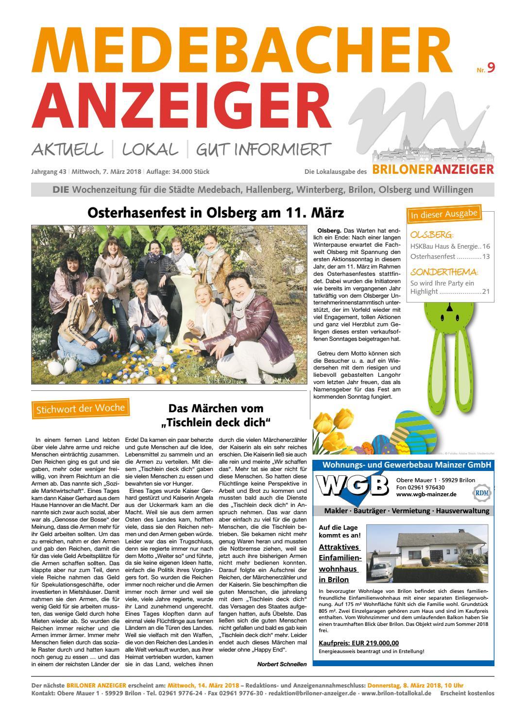Medebacher Anzeiger Nr 09 Vom 7 3 2018 By Brilon Totallokal Issuu