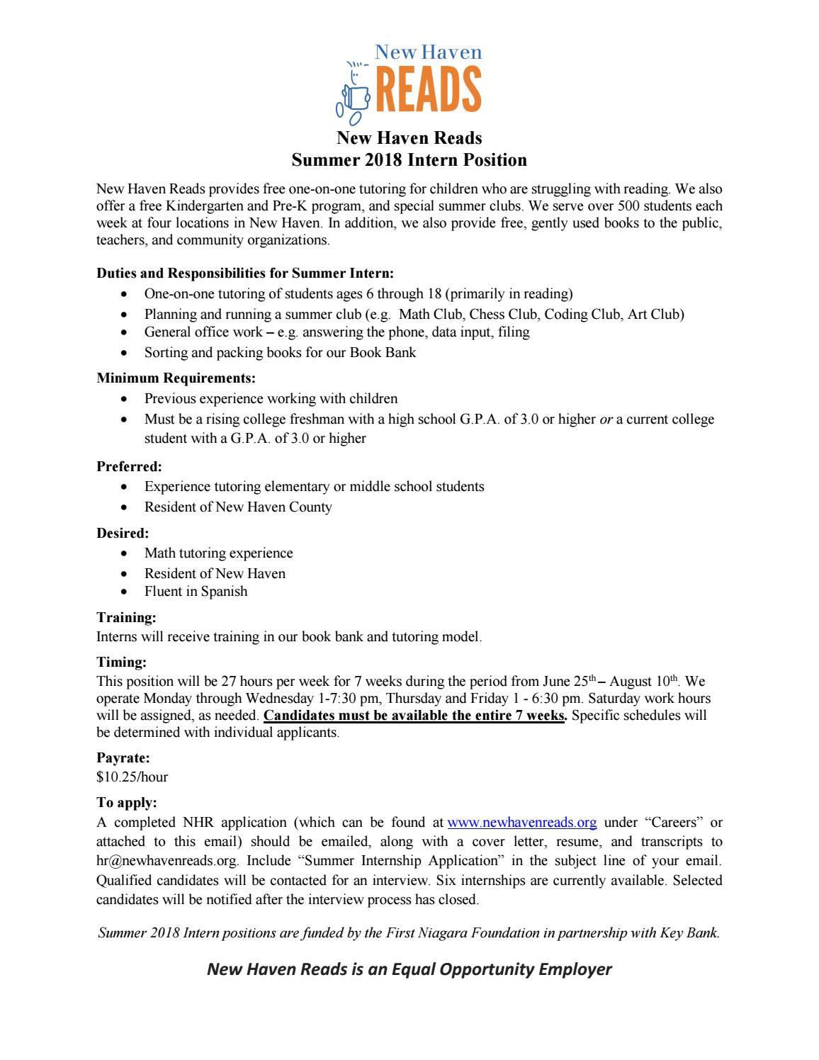 2018-key-bank-summer-internship by New Haven Reads - issuu