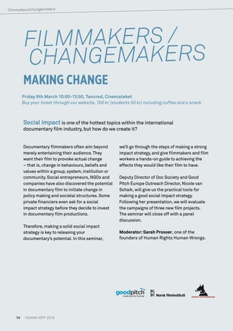 Page 58 of MAKING CHANGE - Filmmakers/Changemakers 2018