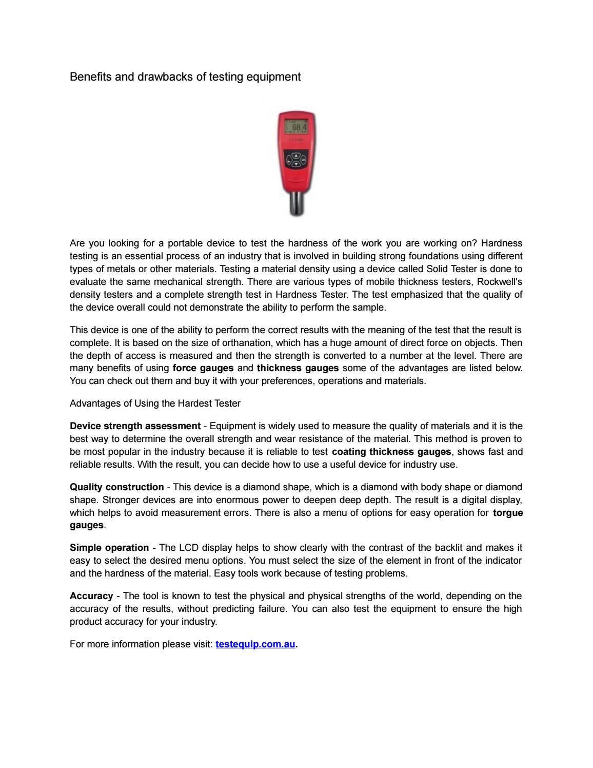 Benefits and drawbacks of testing equipment by Testing Equipment ...