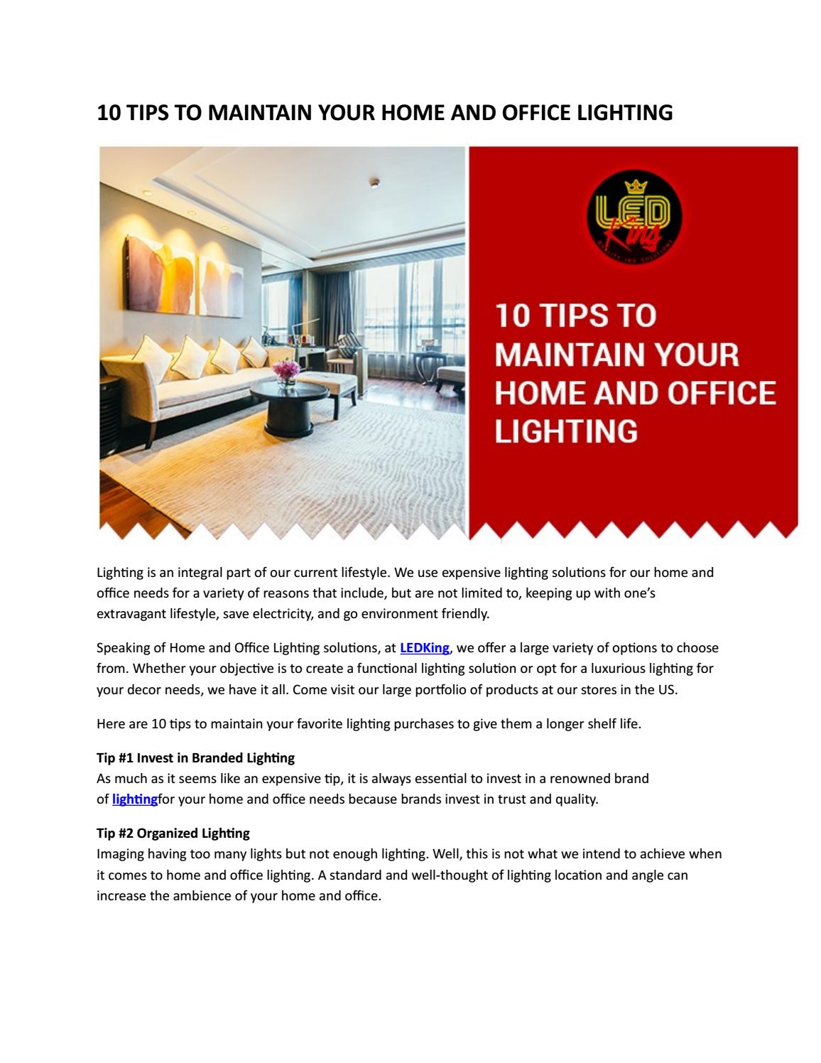 10 Tips To Maintain Your Home And Office Lighting By Sweety Mouni Issuu