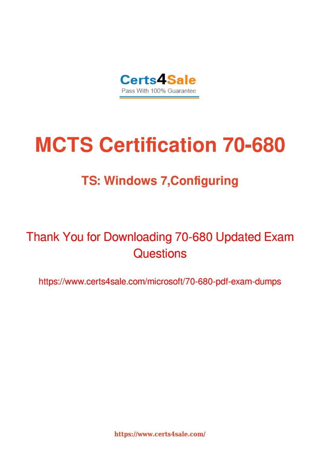 Try Microsoft 70 680 Exam Questions With 100 Success Guarantee By