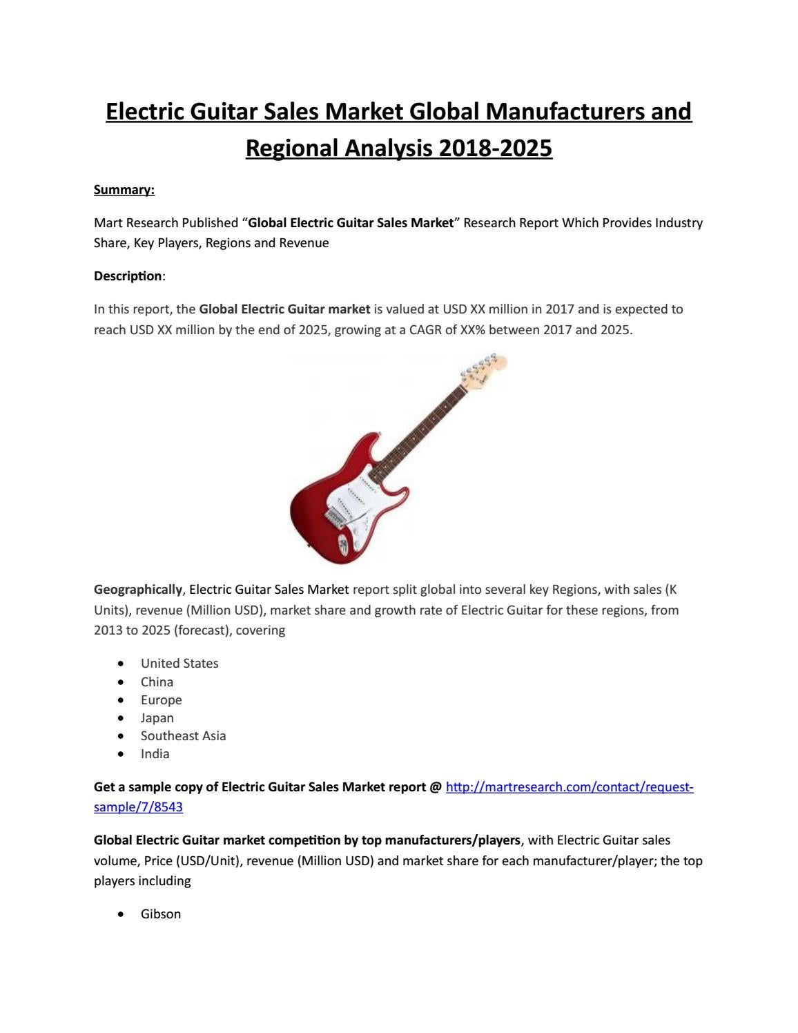 Electric Guitar Market United States Size, Share and Trends