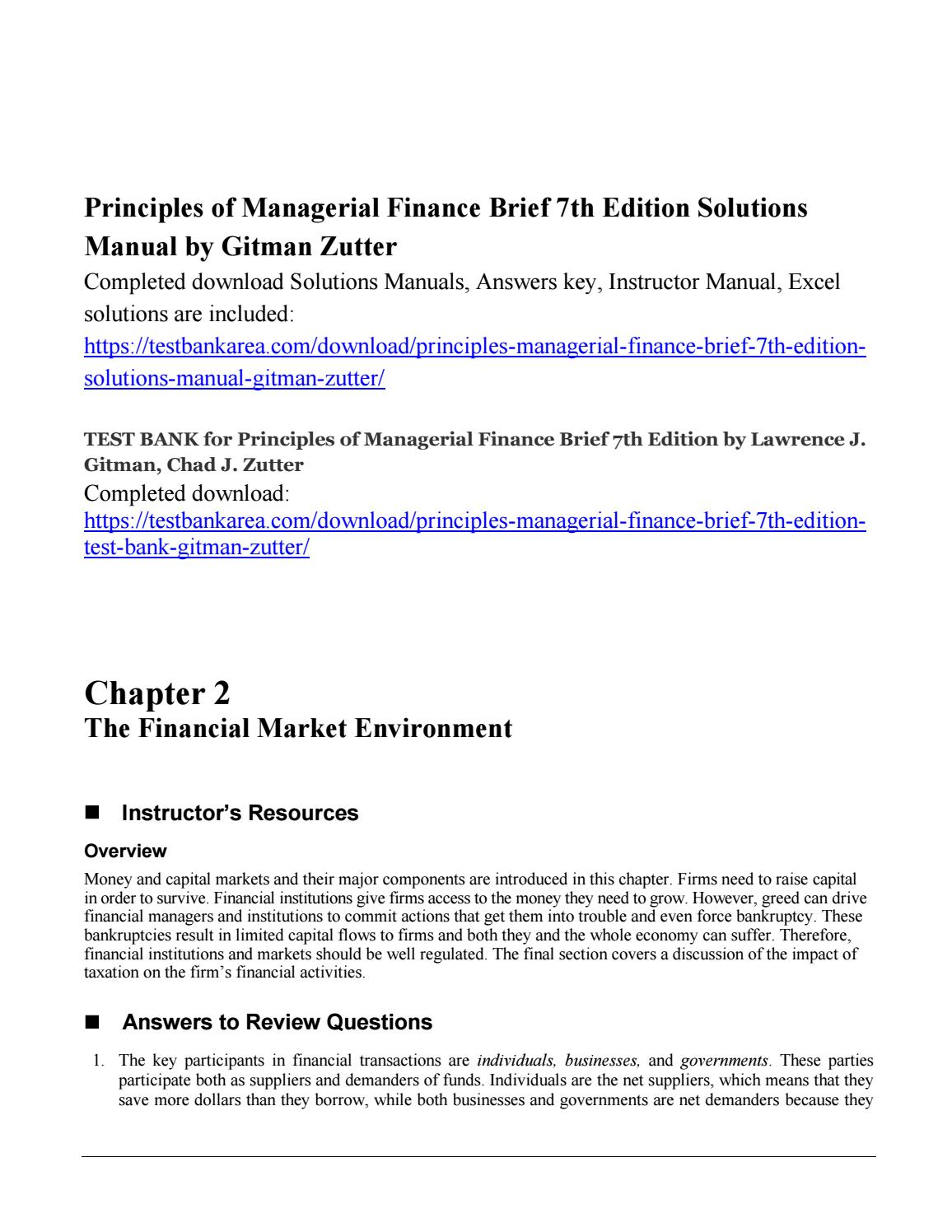 Principles of managerial finance brief 7th edition solutions manual by  gitman zutter by Venkataraman - issuu