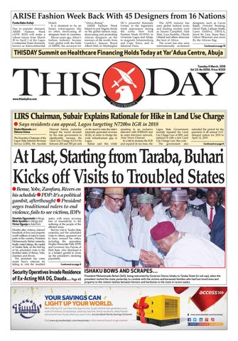 Tuesday 6th March 2018 by THISDAY Newspapers Ltd - issuu