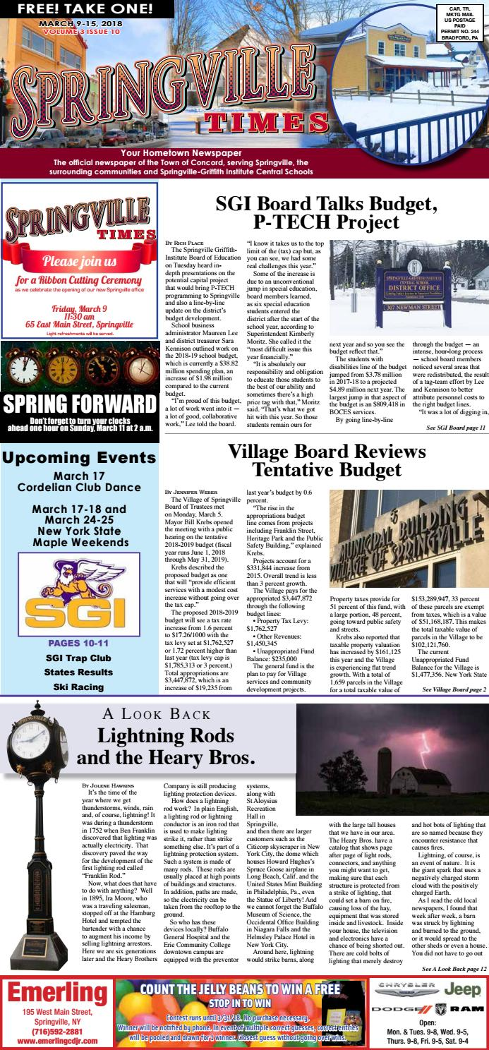3 8 18 Springville Times By Ellicottville Issuu Direct Factory Replacement Heat Pump Circuit Boardyork