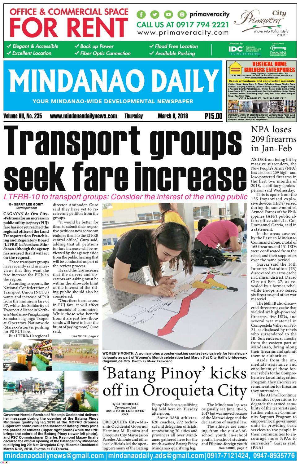 Mindanao Daily (March 8, 2018) by Mindanao Daily News - issuu