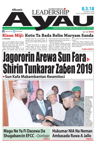 Leadership A Yau 8 Ga Maris 2018 by Leadership Newspapers