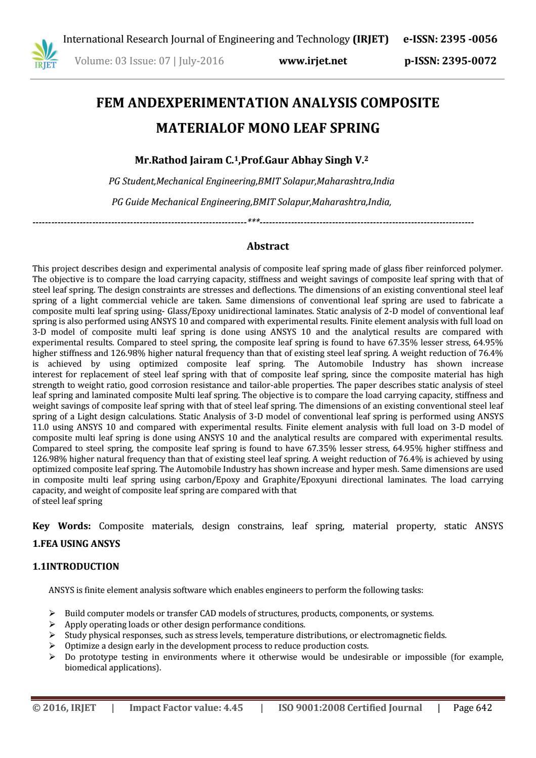 IRJET-Fem and Experimentation Analysis Composite Material of Mono