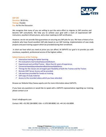 SAP C4C Tutorial | SAP C4C PDF by arpana allentics - issuu