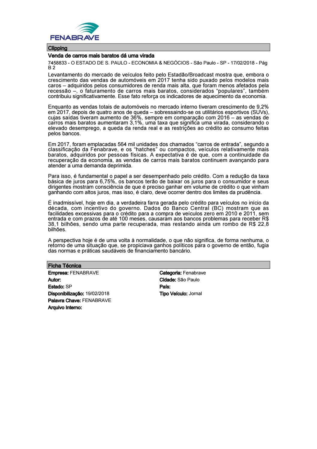 d5a3e9e7e Clipping Fenabrave 19.02.2018 by MCE Comunicação - issuu