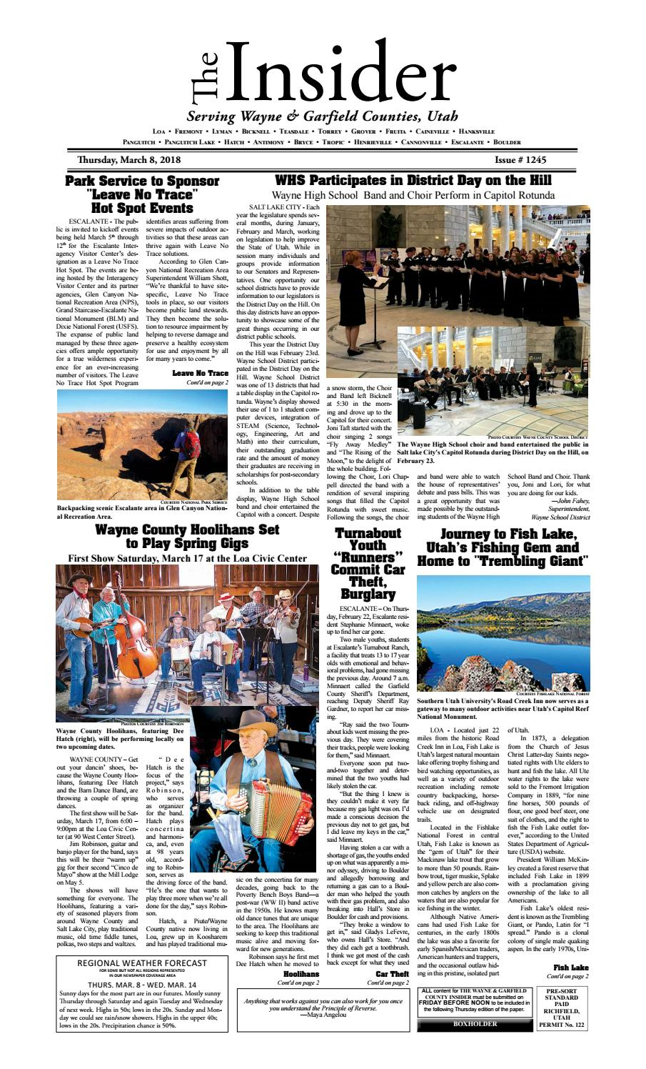 The Wayne & Garfield County Insider March 8, 2018 by