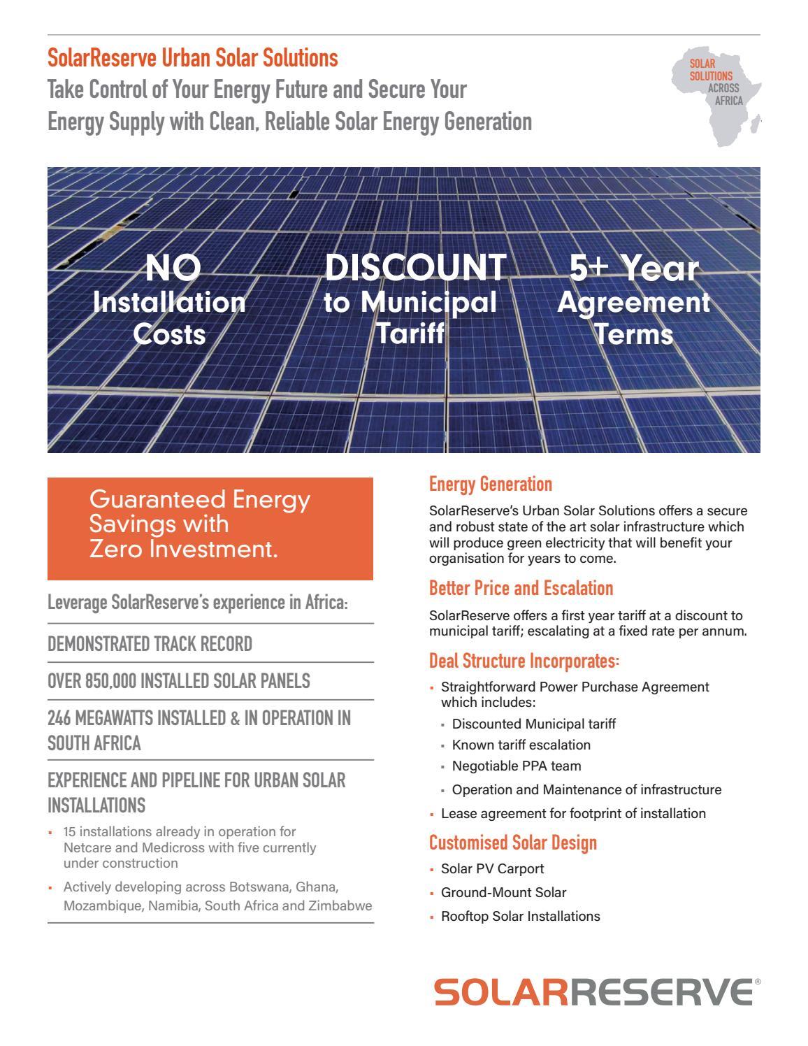 Solarreserve Urban Solar Solutions By Solarreserve Issuu