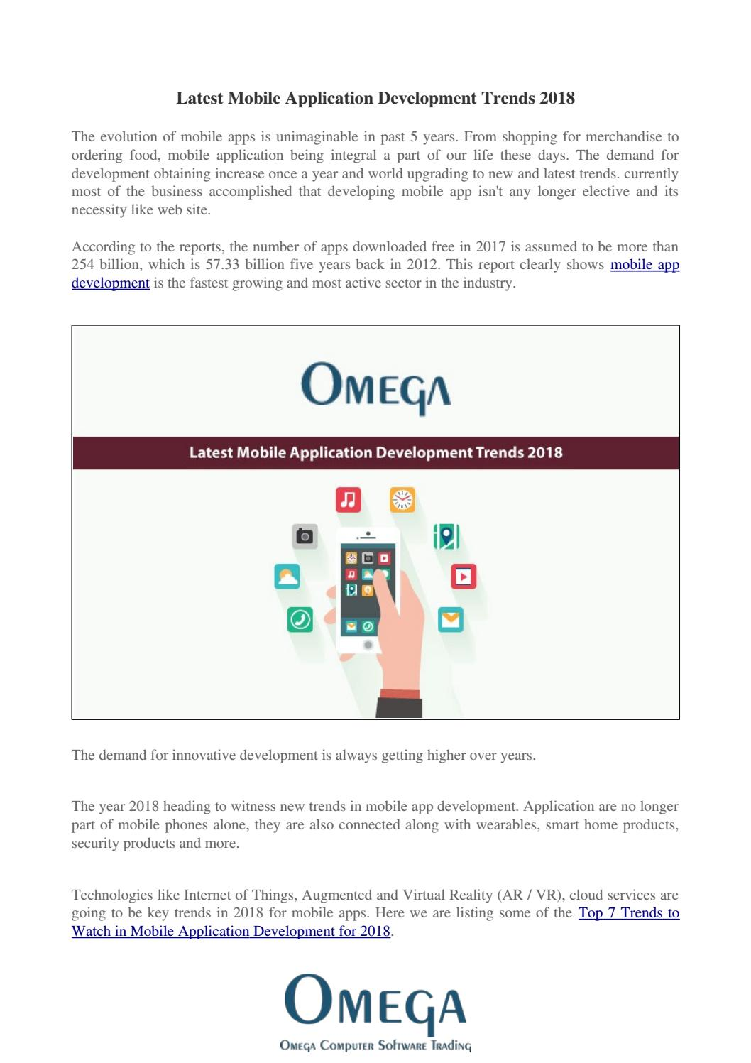 What Are The Latest Mobile Application Trends In 2018? Omega-Cst by