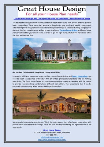 Custom house design and luxury house plans to fulfill your desire ...