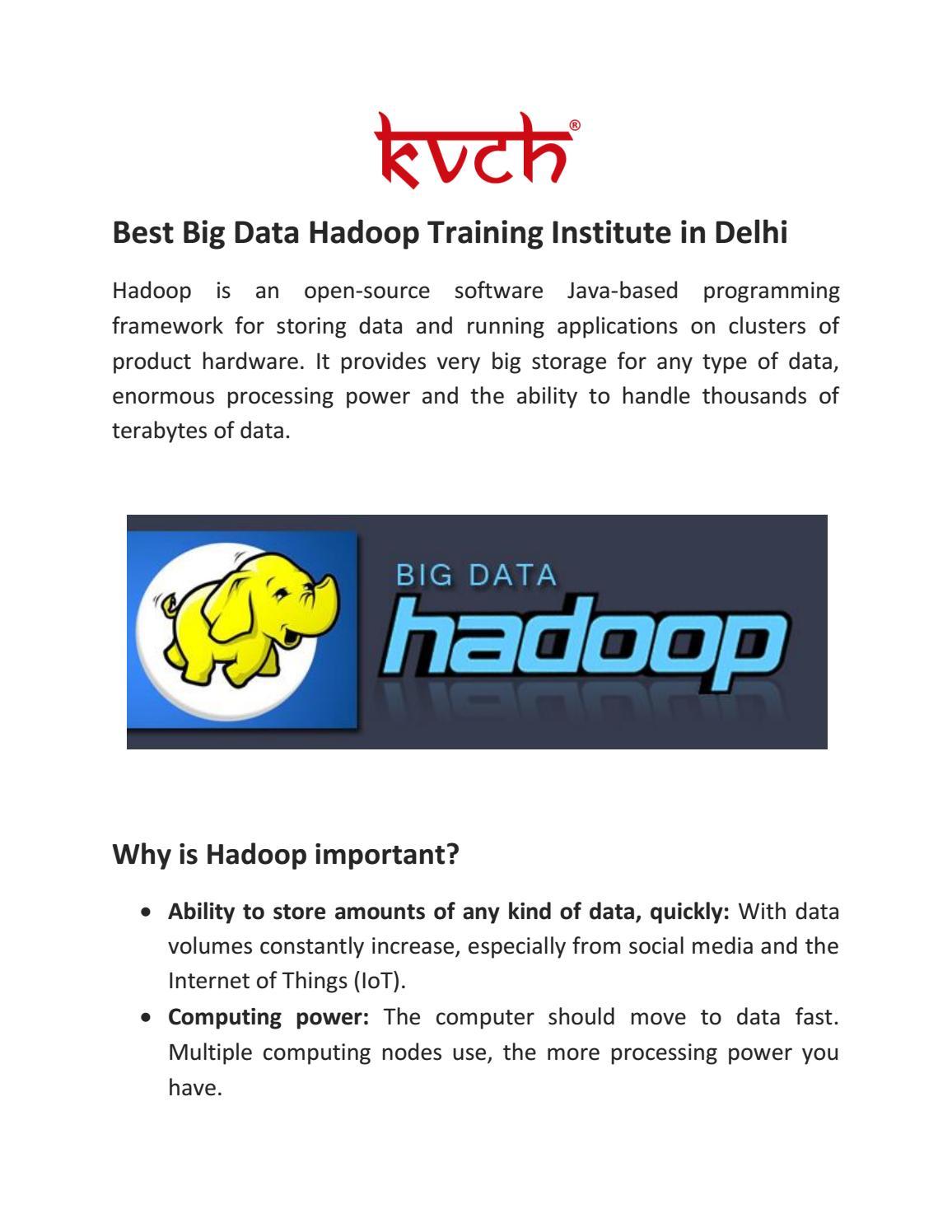 Best 6 Weeks Big Data Hadoop Training in Delhi by