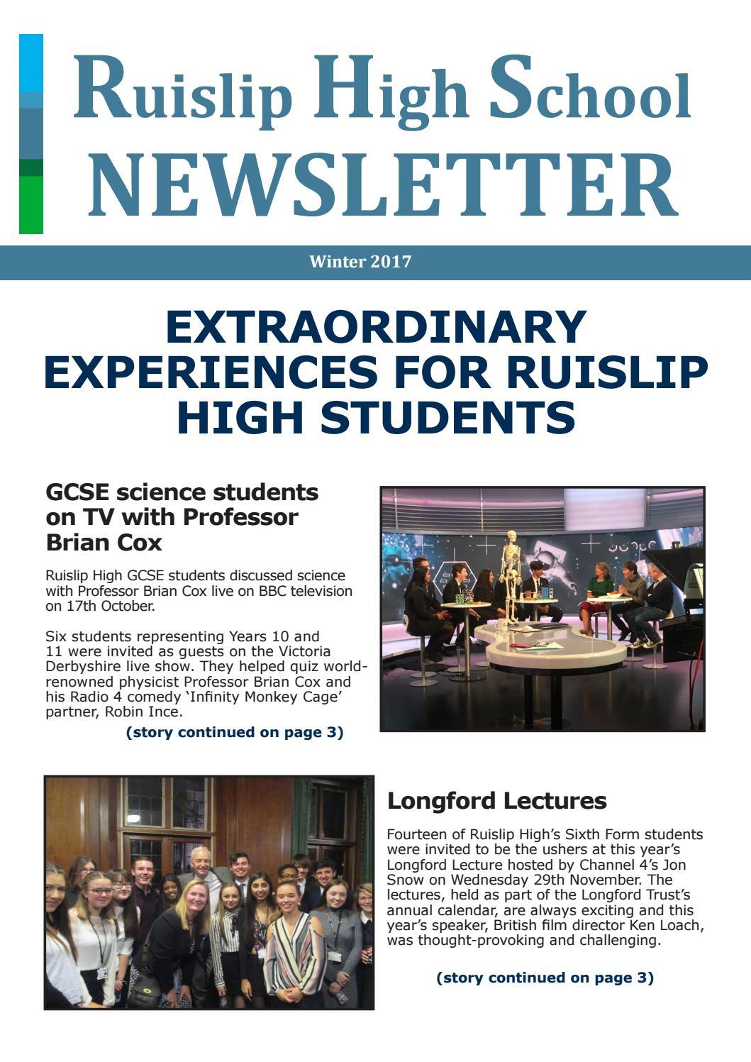 Ruislip High School Winter Newsletter 2017 By Ruislip High School