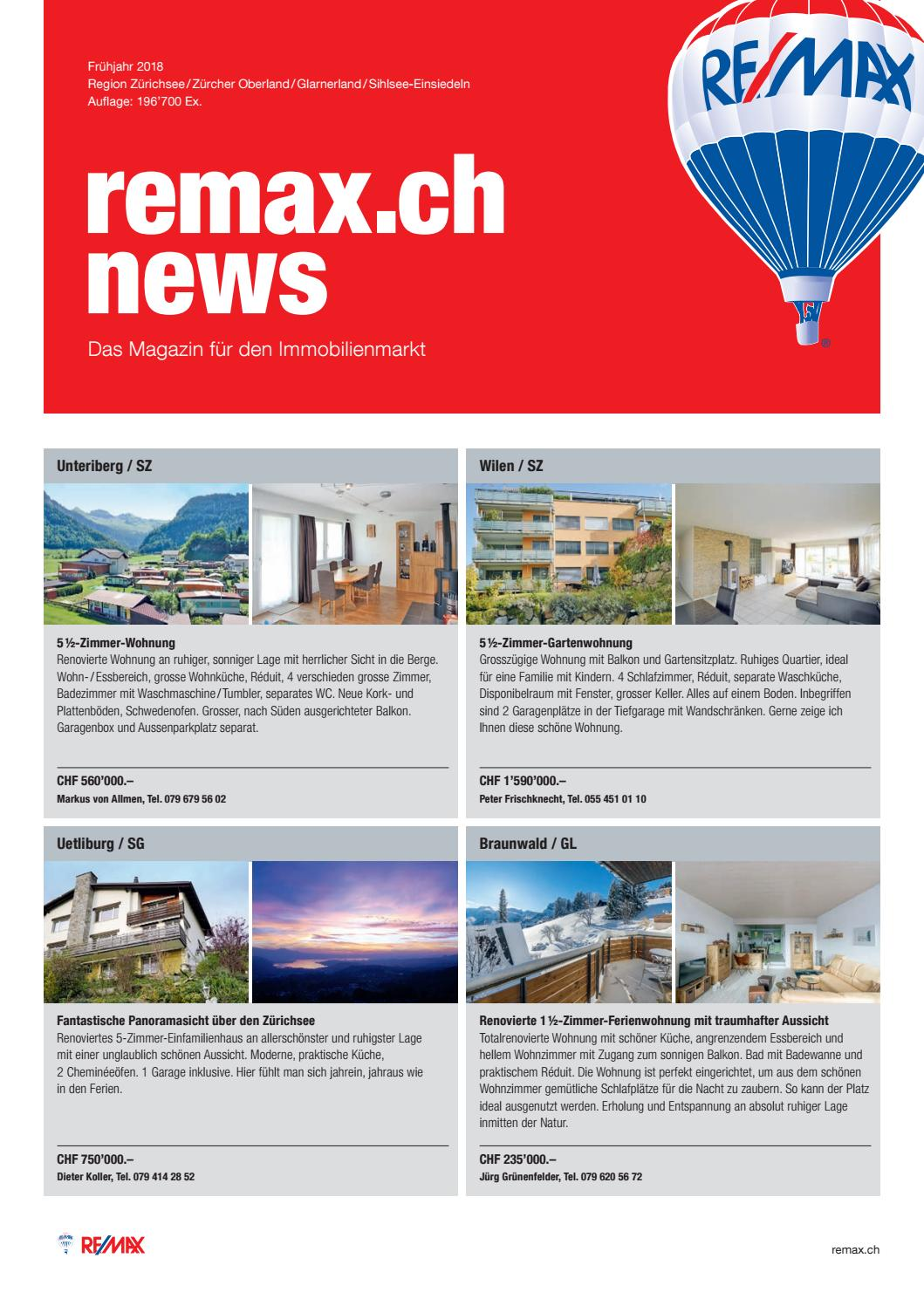 Remax News Zürichsee Frühjahr 2018 By Beni Stocker Issuu