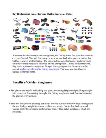 Buy replacement lenses for your oakley sunglasses online by Mr ...