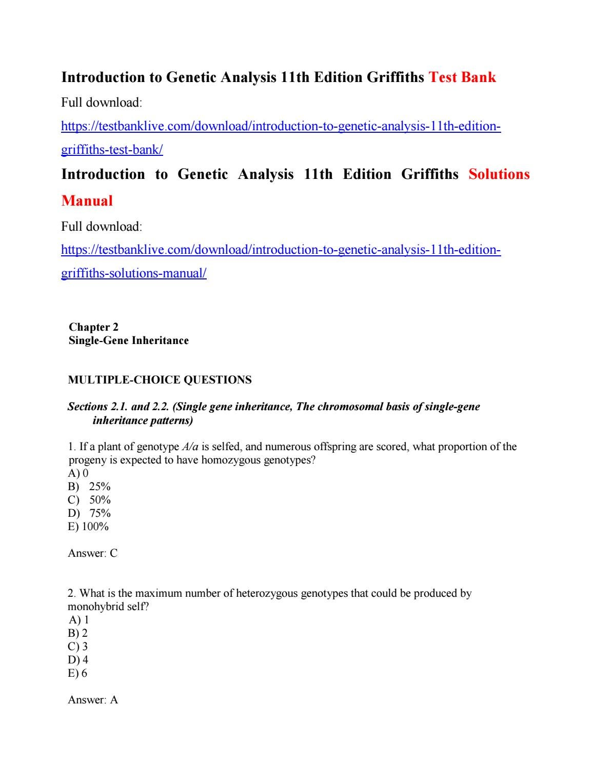 Introduction to genetic analysis 11th edition griffiths test bank by  zgzg111 - issuu