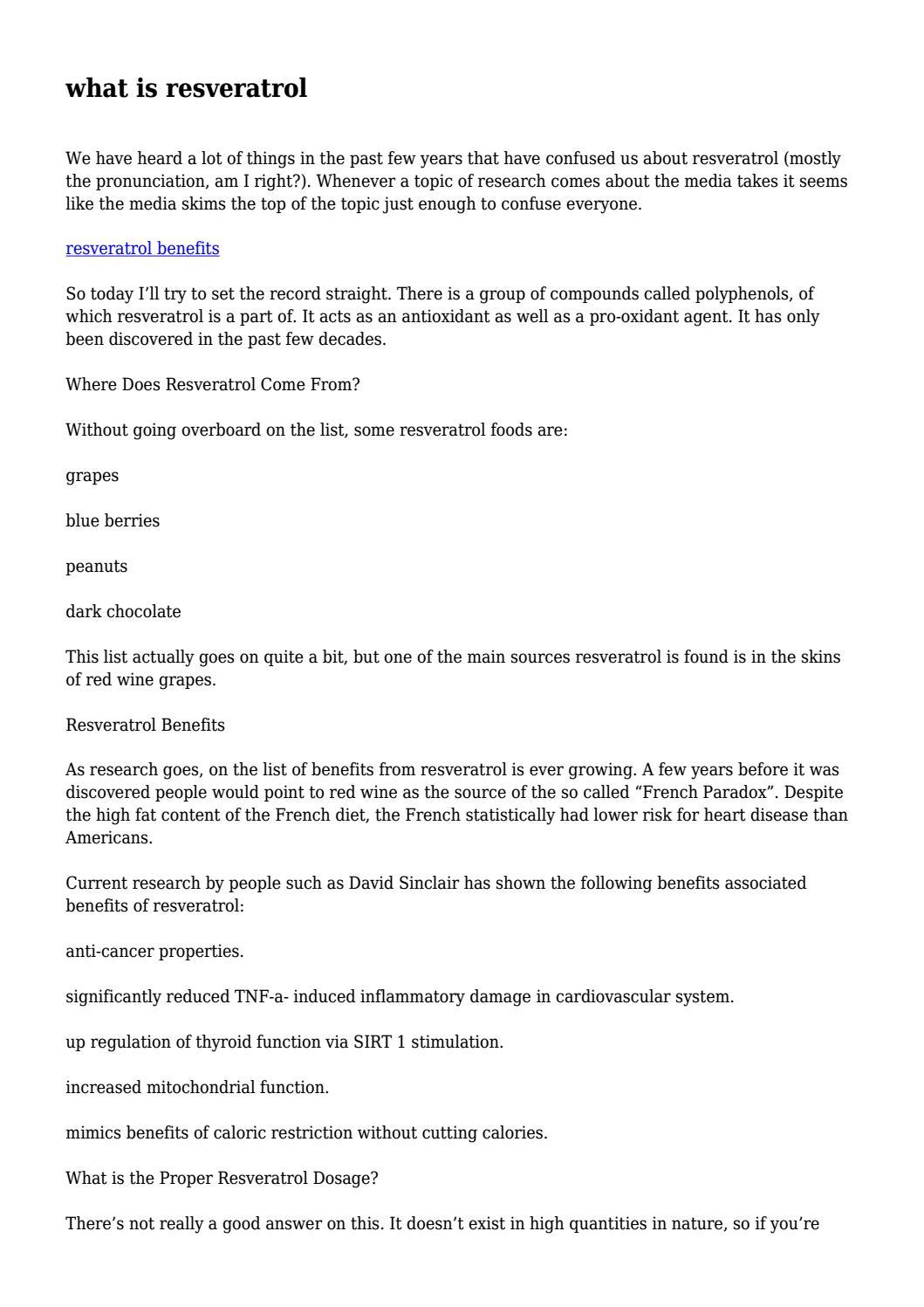 What Is Resveratrol By Garretdunford Issuu